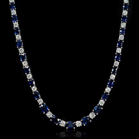 Diamond and Blue Sapphire 18k White Gold Necklace