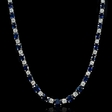 6.07ct Diamond and Blue Sapphire 18k White Gold Necklace