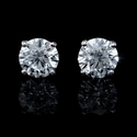 Diamond 4.04 Carats 14k White Gold Stud Earrings