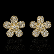 Diamond 18k Yellow Gold Cluster Earrings
