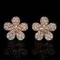 Diamond 18k Rose Gold Cluster Earrings