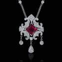 Diamond and Pink Tourmaline 18k White Gold Necklace