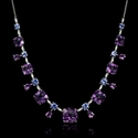 Diamond Amethyst and Tanzanite 18k White Gold Necklace