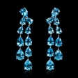 16.30cts Blue Topaz 18k White Gold Dangle Earrings