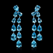 Blue Topaz 18k White Gold Dangle Earrings