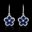 .89ct Diamond and Blue Sapphire 18k White Gold Dangle Earrings