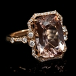 .42ct Diamond Morganite 18k Rose Gold Ring