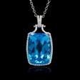 .32ct Diamond and Blue Topaz 18k White Gold Pendant