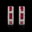 .44ct Diamond and Ruby 18k White Gold Huggie Earrings