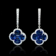 .51ct Diamond and Blue Sapphire 18k White Gold Dangle Earrings