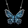 .20ct Diamond Blue Sapphire and Blue Topaz 18k White Gold Butterfly Pendant