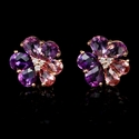 Diamond and Pink Tourmaline and Purple Amethyst 18k Rose Gold Cluster Earrings