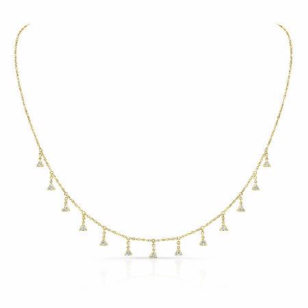Natalie K Diamond 14k Yellow Gold Triangle Drop Necklace