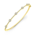 Natalie K 14k Yellow Gold Halo Set Diamond Bangle Bracelet