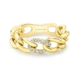 Natalie K 14k Yellow and White Gold Chain Link Diamond Ring
