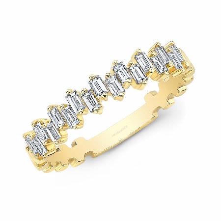 Natalie K 14k Yellow Gold Baguette Diamond Ring