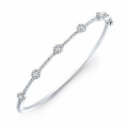 Natalie K 14k White Gold Halo Set Diamond Bangle Bracelet