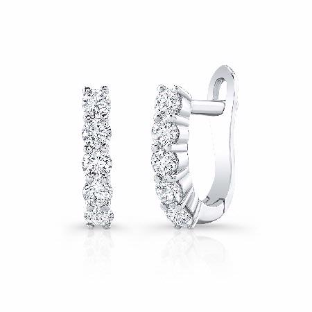 Natalie K 14k White Gold Shared Prong Diamond Huggie Hoop Earrings