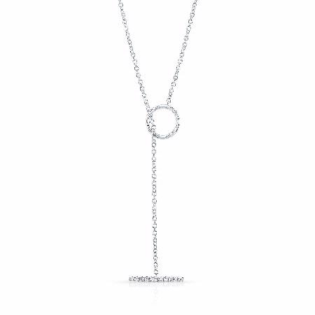 Natalie K 14k White Gold Circle and Diamond Bar Lariat Necklace