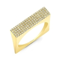 Natalie K 14k Yellow Gold Pave Diamond-Set Geometric Rectangle Ring