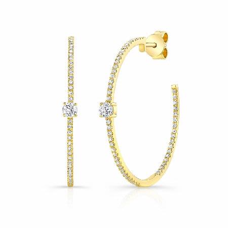 Natalie K 14k Yellow Gold Pave and Prong-Set Diamond Hoop Earrings