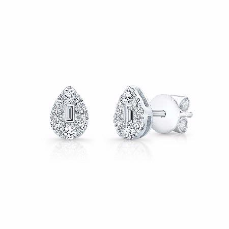 Natalie K 18k White Gold Cluster Earrings
