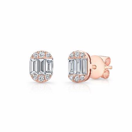 Natalie K 18k Rose Gold Baguette and Round Diamond Oval Shaped Stud Earrings