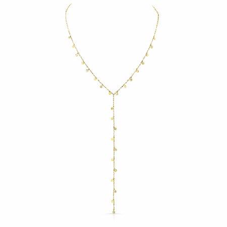 Natalie K 14k Yellow Gold Disc and Diamond Y Necklace