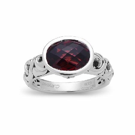 Charles Krypell Garnet and Ruby Sterling Silver Oval Ring