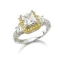 Natalie K Diamond Antique Style Platinum and 18k Yellow Gold Halo Engagement Ring Setting