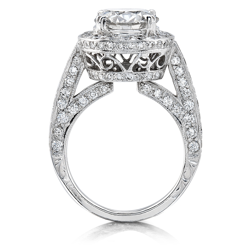 natalie k antique style platinum halo engagement