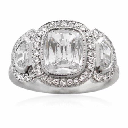 GIA Diamond Antique Style Platinum Engagement Ring