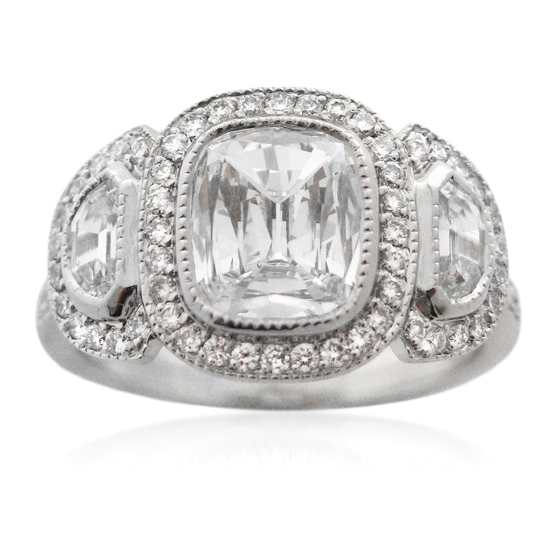 2 52ct antique style platinum engagement ring