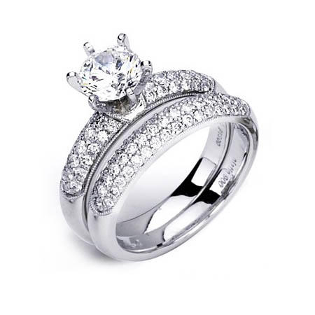 G Diamond Antique Style Platinum Engagement Ring Setting and