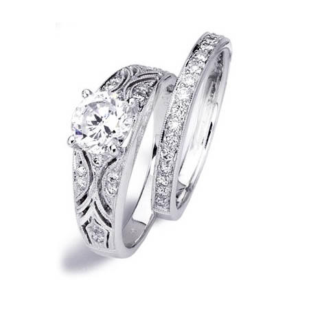 Simon G Diamond Antique Style Platinum Engagement Ring Setting and Wedding Band Set