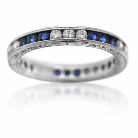 Diamond and Blue Sapphire Antique Style 18k White Gold Eternity Wedding Band Ring