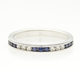 .14ct Diamond and Blue Sapphire Antique Style 18k White Gold Wedding Band Ring