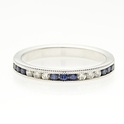 Diamond and Blue Sapphire Antique Style 18k White Gold Wedding Band Ring