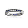 .41ct Diamond and Blue Sapphire Antique Style 18k White Gold Eternity Wedding Band Ring