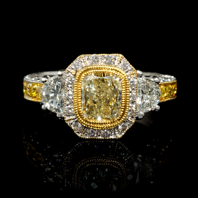 2 61ct antique style 18k two tone gold engagement ring