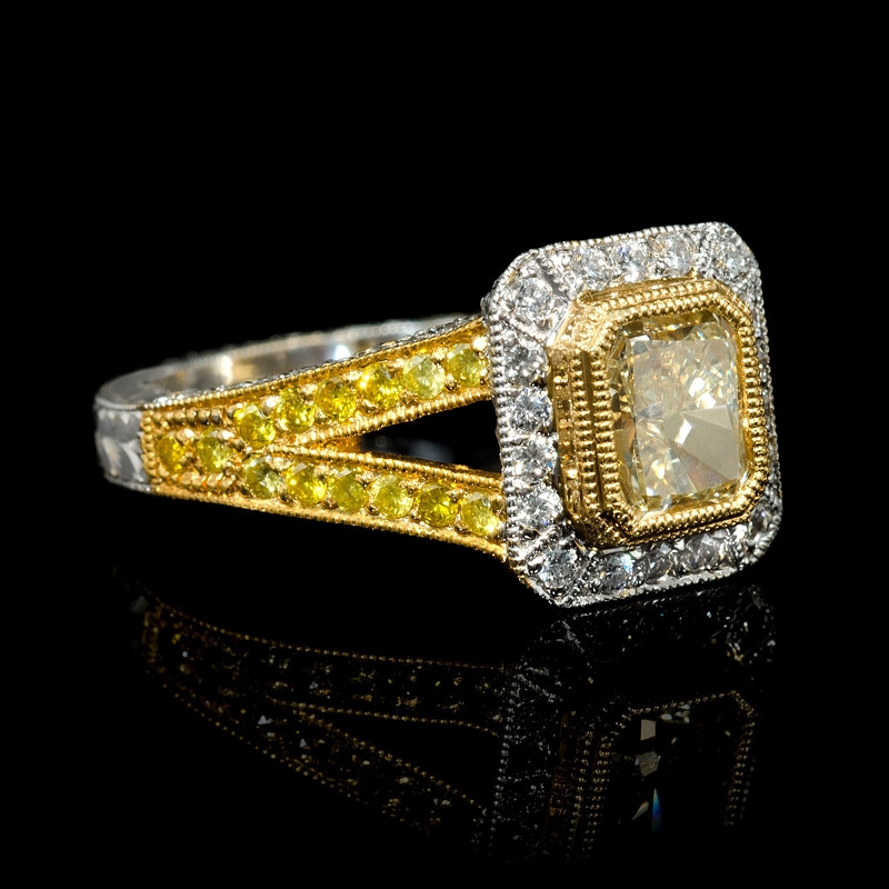 1 60ct antique style 18k two tone gold engagement ring