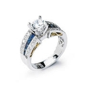 Simon G Diamond and Blue Sapphire Antique Style Platinum and 18k Yellow Gold Engagement Ring Setting