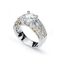 Simon G Diamond Antique Style  Platinum and 18k Yellow Gold Engagement Ring Setting