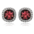 .60ct Haggai Diamond & Red Tourmaline 18k White Gold Earrings
