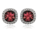 Haggai Diamond & Red Tourmaline 18k White Gold Earrings