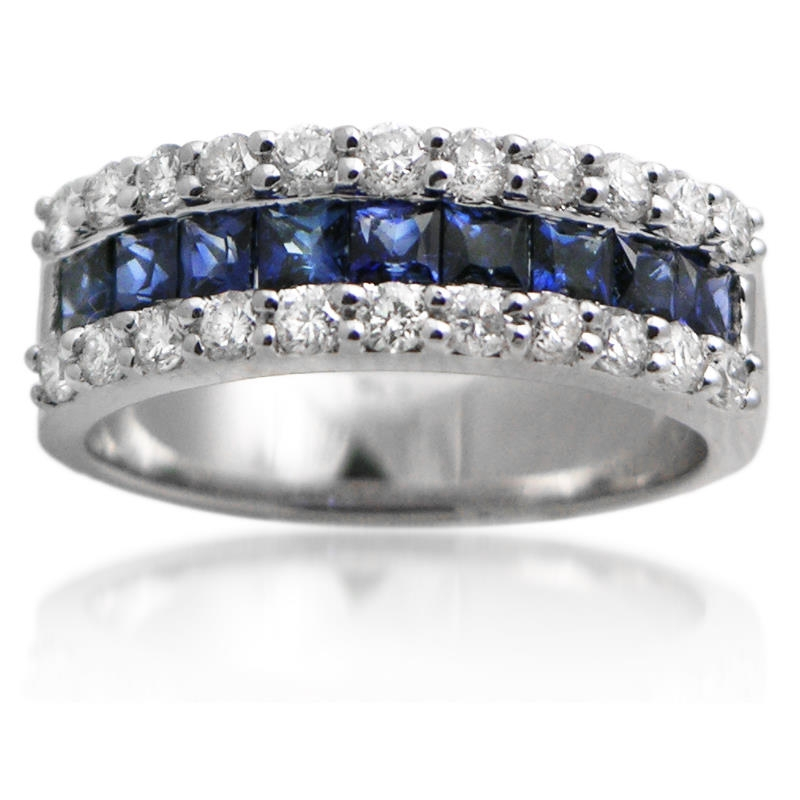 72ct diamond blue sapphire 18k white gold wedding band ring. Black Bedroom Furniture Sets. Home Design Ideas