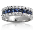 .72ct Diamond & Blue Sapphire 18k White Gold Wedding Band Ring