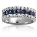 Diamond & Blue Sapphire 18k White Gold Wedding Band Ring