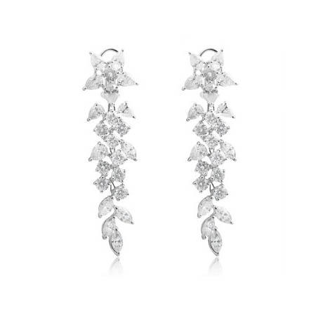 Diamond 18k White Gold Chandelier Earrings