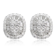 1.31ct Diamond 18k White Gold Cluster Earrings